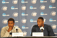 Ole Miss' Nick Williams (20) and Ole Miss' Murphy Holloway (31) attend a press conference at the NCAA Tournament at the Sprint Center in Kansas City, Mo. on Saturday, March 23, 2013. Ole Miss plays La Salle on Sunday.