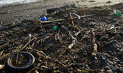 © Licensed to London News Pictures. 07/09/2013<br /> <br /> Saltburn, Cleveland, England<br /> <br /> Branches, tyres and other rubbish is washed up along a river bank following an evening of torrential rainfall that caused flooding and disruption to Saltburn in Cleveland.<br /> <br /> Photo credit : Ian Forsyth/LNP