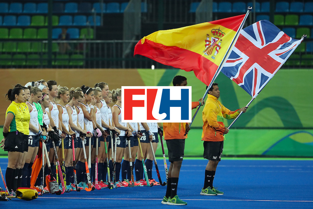 RIO DE JANEIRO, BRAZIL - AUGUST 15:  Great Britain stands for the national anthems before the quarter final hockey game against Spain on Day 10 of the Rio 2016 Olympic Games at the Olympic Hockey Centre on August 15, 2016 in Rio de Janeiro, Brazil.  (Photo by Christian Petersen/Getty Images)
