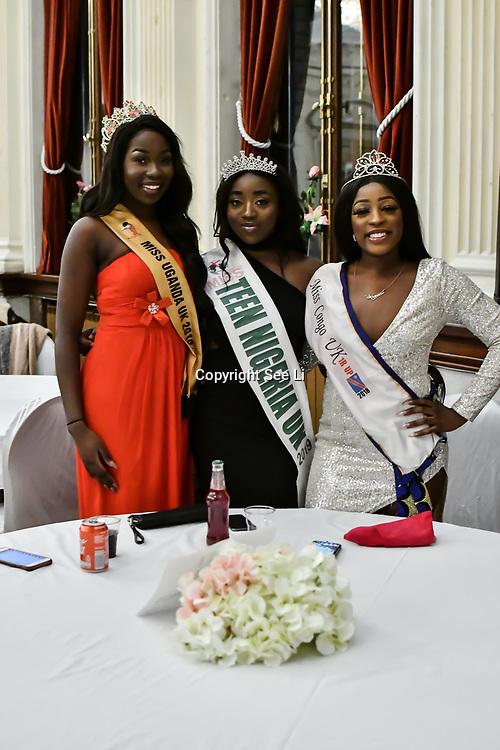Miss Uganda UK 2019 Caitlin Ochana, Miss Teen Nigeria UK 2019 - Anna-Marie Uzokwe and Miss Congo UK 2018-2019 Deborah Tedika  attend the Mr & Miss Congo 2020,on 29th February 2020 at Old Townhall,Stratford, London, UK.