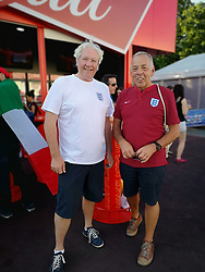 England fans, Barry Duff, 65, (right) and Phil Mitchell, 62, both from Stamford in Lincolnshire in Nizhny Novgorod fan fest at the 2018 FIFA World Cup in Russia ahead of the match on Sunday against Panama.
