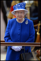 Hm the Queen and The Duke of Kent take the salute outside Buckingham Palace during Trooping The Colour, London, United Kingdom,<br /> Saturday, 15th June 2013<br /> Picture by Andrew Parsons / i-Images