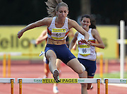 POTCHEFSTROOM, SOUTH AFRICA, Saturday 24 March 2012, Wenda Theron goes over the last hurdle in the women's 400m hurdles during the Yellow Pages Series 2 athletics meeting at the McArthur Stadium..Photo by Roger Sedres/Image SA