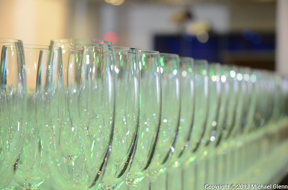 Glasses lined up for the New Years party at the MTV New Years party