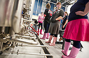 Capital Brewer Brewmaster Ashley Kinart, right, stands alongside other pink-booted female brewing experts during Women's Brew Day at Wisconsin Brewing Company in Verona, Saturday, January 24, 2015. The Pink Boots Society was created to empower women beer professionals and advance their brewing careers.