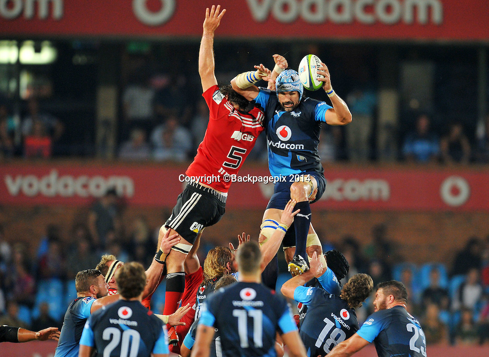 Victor Mattfield of the Bulls and Sam Whitelock of the Bulls during the 2015 Super Rugby rugby match between the Bulls and the Crusaders at the Loftus Versfeld Stadium in Pretoria, South Africa on March 28, 2015 ©Samuel Shivambu/BackpagePix