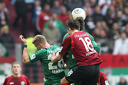 01.03.2014, SGL Arena, Augsburg, GER, 1. FBL, FC Augsburg vs Hannover 96, 23. Runde, im Bild l-r: im Zweikampf, Aktion, Kopfballduell mit Andre Hahn #28 (FC Augsburg), Sebastien Pocognoli #18 (Hannover 96) // during the German Bundesliga XXth round match between FC Augsburg and Hannover 96 at the SGL Arena in Augsburg, Germany on 2014/03/01. EXPA Pictures © 2014, PhotoCredit: EXPA/ Eibner-Pressefoto/ Kolbert<br /> <br /> *****ATTENTION - OUT of GER*****