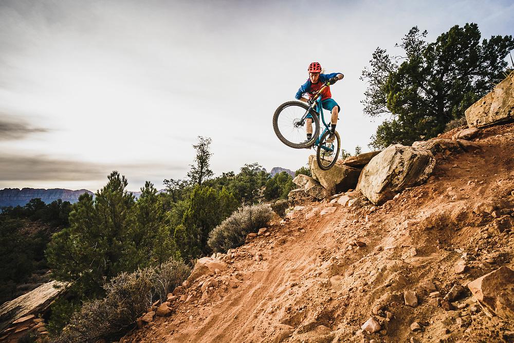 Jeremy Hottinger pedals the Dig It Trail, Virgin, Utah.