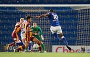 Chris O'Grady of Chesterfield shoots during the EFL Trophy match between Chesterfield and Bradford City at the b2net stadium, Chesterfield, England on 29 August 2017. Photo by Paul Thompson.