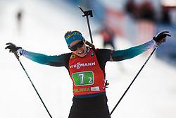 Anais Bescond (FRA) finishing the Single Mixed Relay 6 km / 7,5 kmn at day 3 of IBU Biathlon World Cup 2019/20 Pokljuka, on January 23, 2020 in Rudno polje, Pokljuka, Pokljuka, Slovenia. Photo by Peter Podobnik / Sportida
