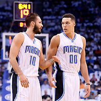 28 October 2015: Orlando Magic guard Evan Fournier (10) is seen next to Orlando Magic forward Aaron Gordon (00) during the Washington Wizards 88-87 victory over the Orlando Magic, at the Amway Center, in Orlando, Florida, USA.