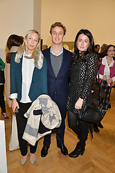 Left to right, KENDAL OWENS, FRANCESCO CIARDI and ELIZABETH PATON at the opening private view of 'A Strong Sweet Smell of Incense - A portrait of Robert Fraser, held at the Pace Gallery, Burlington Gardens, London on 5th February 2015.