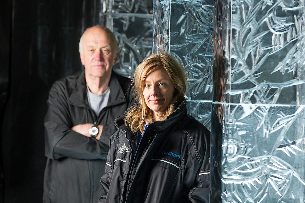 Heidi Bayley, President of Iceculture Inc., and her father and the company's founder Julian Bayley pose for a photo with some of their ice pillars at their headquarters in Hensall, Ontario, May 22, 2015.<br /> Geoff Robins/ The Globe and Mail