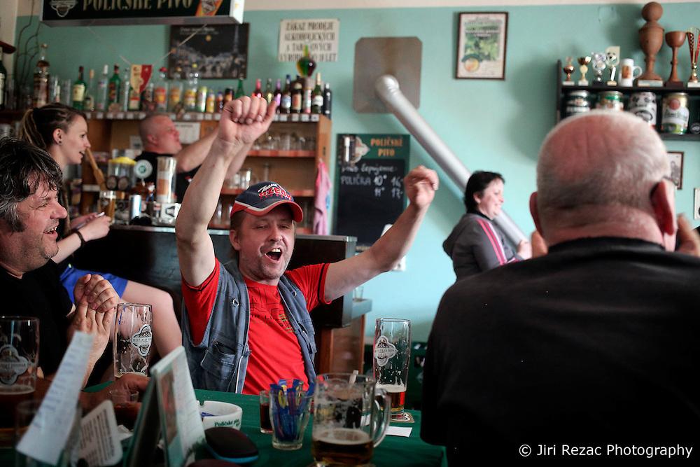 CZECH REPUBLIC VYSOCINA NEDVEZI 16MAY15 - Celebration as the Czech team scores a goal during the Ice Hockey world championship match against Canada, seen in the village pub in Nedvezi, Vysocina, Czech Republic.<br /> <br /> jre/Photo by Jiri Rezac<br /> <br /> © Jiri Rezac 2015