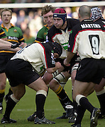 02/03/2003.Sport - 2003 Powergen Cup Semi- final - London Irish v Northampton Saints.Nick Kennedy, feeds the ball, after winning the line out..