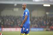 AFC Wimbledon striker Tom Elliott (9) looking on during the EFL Sky Bet League 1 match between AFC Wimbledon and Charlton Athletic at the Cherry Red Records Stadium, Kingston, England on 11 February 2017. Photo by Matthew Redman.