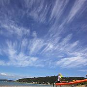 Tourists Kayaking at Haruru Falls with Coastal Kayakers, Waitangi Beach, Paihia, Bay of Islands, New Zealand, The day's paddle includes sheltered waters of the Waitangi Estuary with time exploring the Mangrove forests and Haruru falls. Bay of Islands, North Island, New Zealand,, 17th November 2010 Photo Tim Clayton.