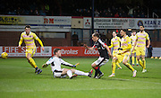 Dundee&rsquo;s Paul McGowan scores the Dark Blues' equaliser - Dundee v Hearts in the Ladbrokes Scottish Premiership at Dens Park, Dundee. Photo: David Young<br /> <br />  - &copy; David Young - www.davidyoungphoto.co.uk - email: davidyoungphoto@gmail.com