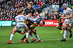 Matt Cox of Worcester Warriors is tackled by Tom Hendrickson and Harry Strong of Exeter Chiefs - Mandatory by-line: Craig Thomas/JMP - 27/01/2018 - RUGBY - Sixways Stadium - Worcester, England - Worcester Warriors v Exeter Chiefs - Anglo Welsh Cup