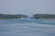 View of the Sturgeon Bay ship canal from the west looking east into Lake Michigan.  (Mike Roemer Photo)