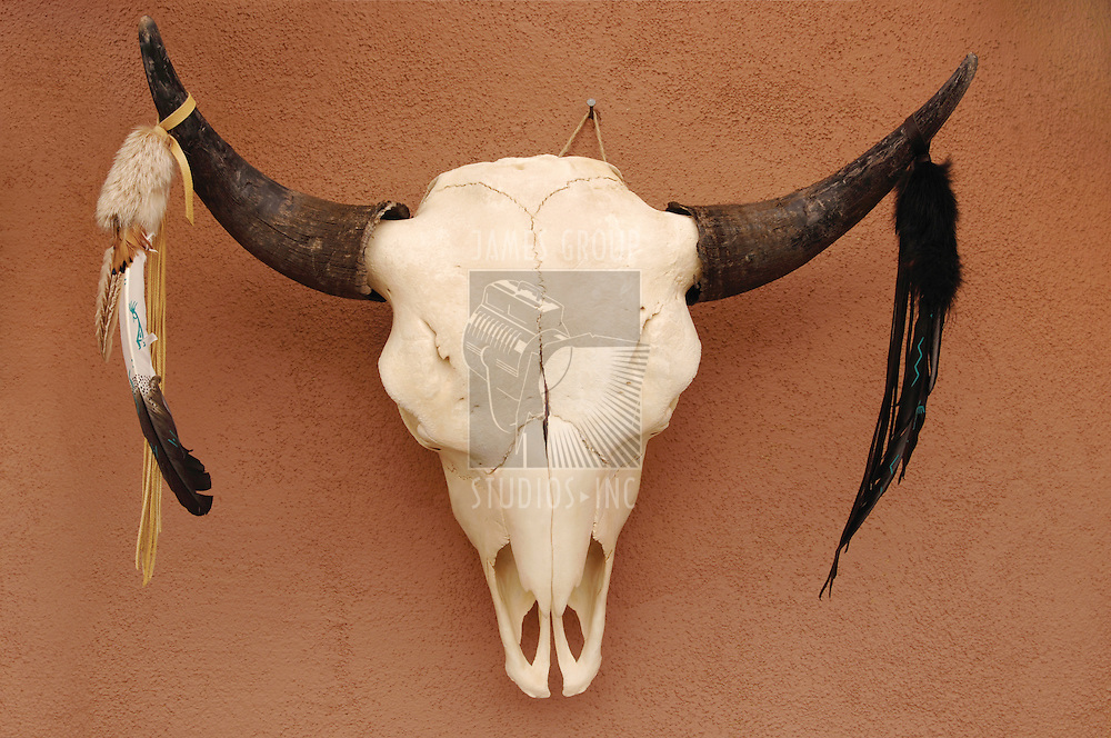 Decorated Pueblo bull skull on adobe wall