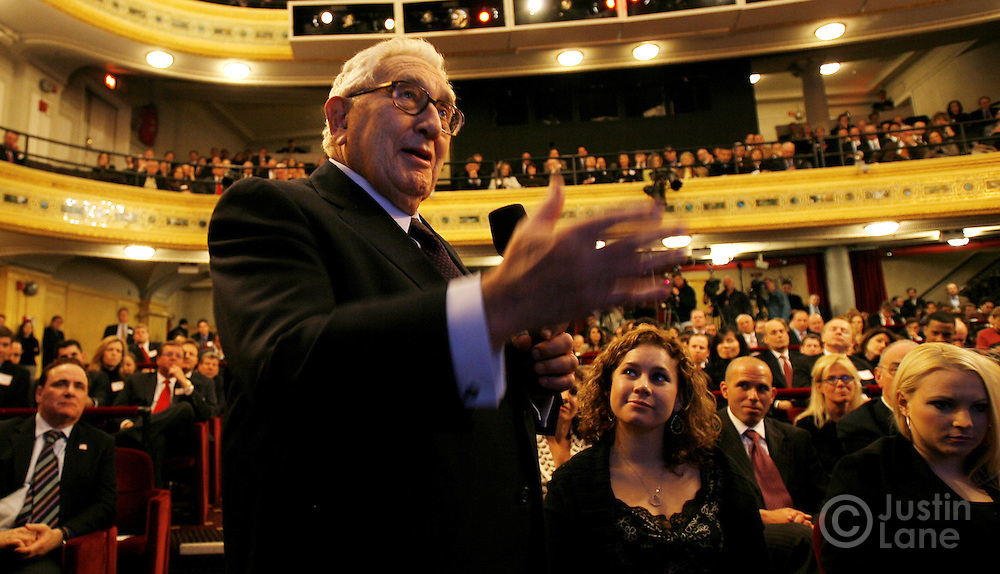 "Former United States Secretary of State Henry Kissinger speaks to Sen. John McCain (R - Arizona), who he is supporting politically, during an event labeled as an ""Exchange of Ideas"" at a theater in New York, New York on Thursday 08 March 2007. McCain, who has unofficially announced that he is running to be President of the United States, spoke to supporters about issues and took questions from the audience."