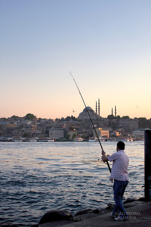 Fisherman at Istanbul's Galata bridge