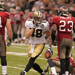 2008 September 7: New Orleans Saints tight end Jeremy Shockey (88) celebrates after making a first down as Jermaine Phillips (23) of the Tampa Bay Buccaneers looks on during their game at the Louisiana Superdome in New Orleans, LA.  The New Orleans Saints defeated the Tampa Bay Buccaneers 24-20.