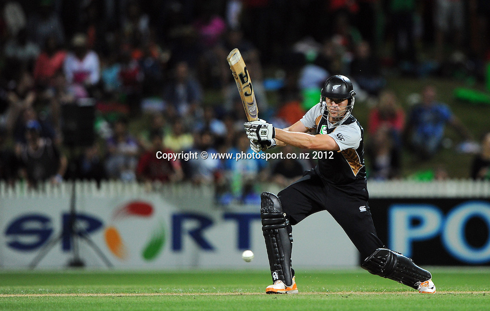 James Franklin hits out during the 2nd Twenty20 InternationaI cricket match between New Zealand and Zimbabwe at Seddon Park in Hamilton, New Zealand on Tuesday 14 February 2012. Photo: Andrew Cornaga/Photosport.co.nz