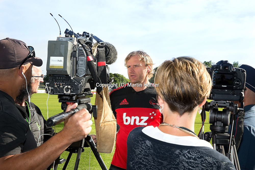 Crusaders coach Scott Robertson talks to media at Rugby Park, Christchurch, New Zealand. Monday 19 December 2016. ©Copyright Photo: Martin Hunter / www.photosport.nz