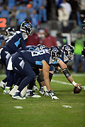 Tennessee Titans offensive tackle Jack Conklin (78) and the Titans offensive line gets set to snap the ball at the line of scrimmage during the week 14 regular season NFL football game against the Jacksonville Jaguars on Thursday, Dec. 6, 2018 in Nashville, Tenn. The Titans won the game 30-9. (©Paul Anthony Spinelli)