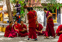 Monks debating Buddhist doctrines, Sera Monastery, Lhasa, Tibet (Xizang, China).