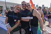Joe Gollahon, Roger Tieskoetter and Daniel Hutchins of The Chill Bar Highlands group.<br /> The Lesbian, Gay, Bisexual, Transgender, and Queer (LGBTQ) community and their friends, family and supporters walked and lined Main Street from Floyd Street to the Belvedere for the Kentuckiana Pride Parade, Saturday, June 16, 2017 in Louisville, Ky. (Photo by Brian Bohannon)