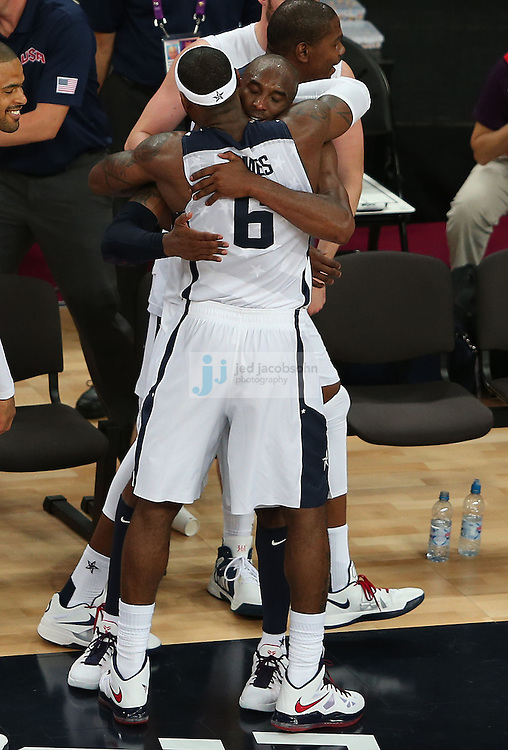 Kobe Bryant (R) and LeBron James of the USA basketball team celebrate during their game against Spain during the men's final basketball game during day 16 of the London Olympic Games in London, England, United Kingdom on August 12, 2012..(Jed Jacobsohn/for The New York Times)..