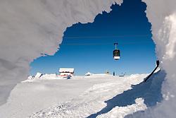 THEMENBILD - Umlaufbahn (Olympiagondolen) am Skiberg Aareskutan, aufgenommen am Freitag, 16. März 2018. Die alpinen Ski- Weltmeisterschaften 2019 finden von 05. bis 17. Februar in Aare /Schweden statt // Kabin kabellift (Olympiagondolen) at Skiberg Aareskutan, pictured on Tuesday, March 13, 2018. The Alpine Skiing World Championships 2019 will take place from 05 to 17 February in Aare. Sweden on 2017/03/16. EXPA Pictures © 2018, PhotoCredit: EXPA/ Johann Groder