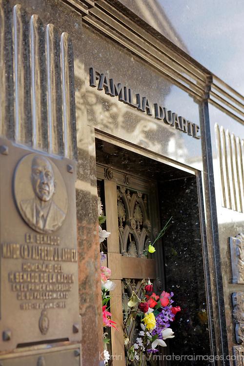 South America, Argentina, Buenos Aires. Tomb of Eva Peron at La Recoleta Cemetary.
