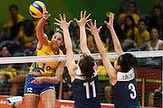 RIO DE JANEIRO, BRAZIL - AUGUST 16:<br /> <br /> Natalia Pereira #12 of Brazil in action during the Women\'s Quarterfinal match between China and Brazil on day 11 of the Rio 2106 Olympic Games at the Maracanazinho on August 16, 2016 in Rio de Janeiro, Brazil. <br /> ©Exclusivepix Media
