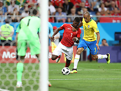 ROSTOV-ON-DON, June 17, 2018  Breel Embolo (C) of Switzerland vies with Miranda of Brazil (R) during a group E match between Brazil and Switzerland at the 2018 FIFA World Cup in Rostov-on-Don, Russia, June 17, 2018. The match ended in a 1-1 draw. (Credit Image: © Lu Jinbo/Xinhua via ZUMA Wire)