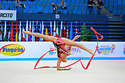 Berezko Jana during qualifying at ribbon in Pesaro World Cup 11 April 2015.<br />