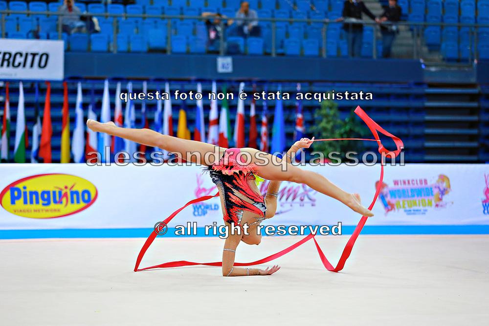 Berezko Jana during qualifying at ribbon in Pesaro World Cup 11 April 2015.<br /> Jana is a German individual rhythmic gymnast of  Russian origin, born on October 17, 1995 in Tolyatti, Russia.
