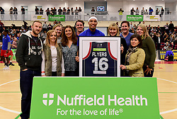 Greg Streete of Bristol Flyers with sponsor Nutfield Health  - Photo mandatory by-line: Joe Meredith/JMP - 18/11/2016 - BASKETBALL - SGS Wise Arena - Bristol, England - Bristol Flyers v Surrey Scorchers - British Basketball League