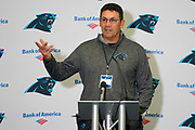 Carolina Panthers Head Coach Ron Rivera talk about his team  during the Carolina Panthers training session / press conference held at Harrow School, Harrow, United Kingdom on 11 October 2019.