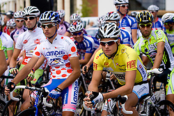 Simon Spilak  (SLO) of Lampre - N.G.C. and Jakob Fuglsang (DEN) of Team Saxo Bank before start of the 4th stage of Tour de Slovenie 2009 from Sentjernej to Novo mesto, 153 km, on June 21 2009, Slovenia. (Photo by Vid Ponikvar / Sportida)