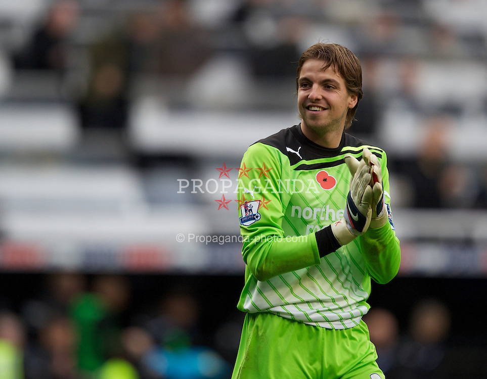NEWCASTLE-UPON-TYNE, ENGLAND - Saturday, November 5, 2011: Newcastle United's goalkeeper Tim Krul celebrates his side's 2-1 win over Everton after the Premiership match at St. James' Park. (Pic by Vegard Grott/Propaganda)