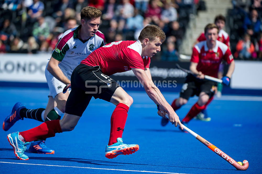 Holcombe's Sam Ward. Holcombe v Surbiton - Semi-Final - Men's Hockey League Finals, Lee Valley Hockey & Tennis Centre, London, UK on 22 April 2017. Photo: Simon Parker
