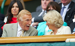 27.06.2012, Wimbledon, London, GBR, WTA, The Championships Wimbledon, im Bild Bruce Forsyth shares a joke with Camilla Parker Bowles (Duchess of Cornwall) during the Ladies' Singles 1st Round match on day three of the WTA Tour Wimbledon Lawn Tennis Championships at the All England Lawn Tennis and Croquet Club, London, Great Britain on 2012/06/27. EXPA Pictures © 2012, PhotoCredit: EXPA/ Propagandaphoto/ David Rawcliff..***** ATTENTION - OUT OF ENG, GBR, UK *****