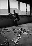 Mostar, Bosnia, June 1993.<br /> <br /> Soldier from the Croatian Defence Council (HVO) on the frontline in Mostar.
