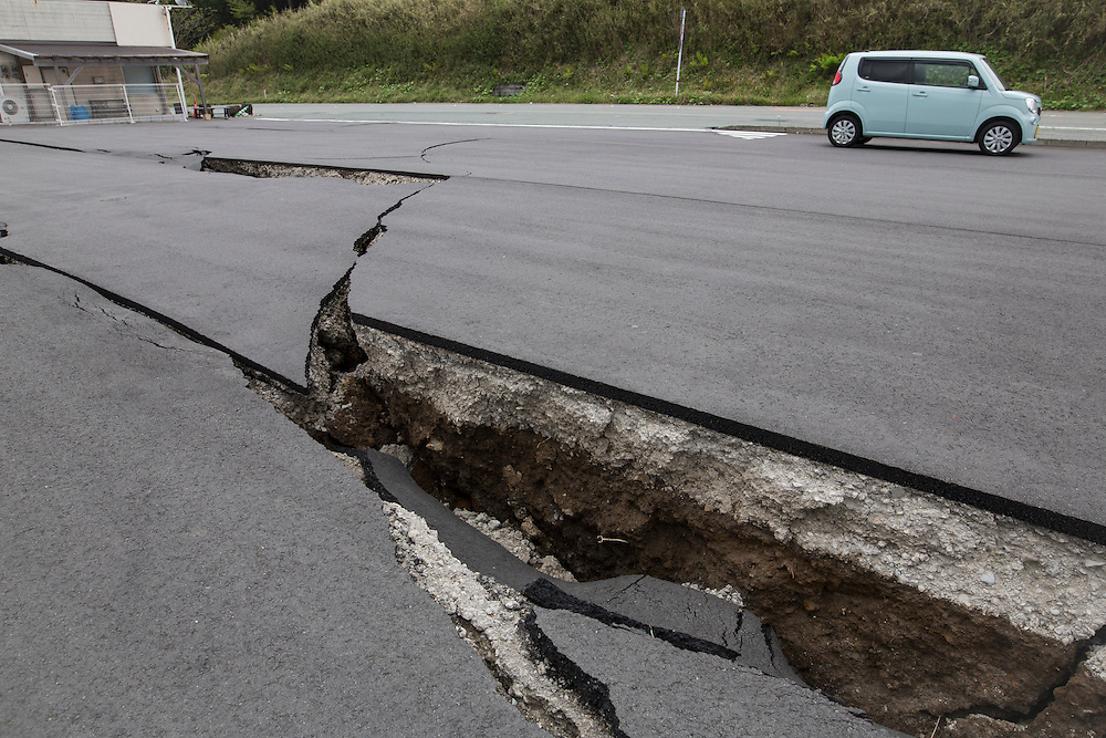 KUMAMOTO, JAPAN - APRIL 18: Crack parking lot is seen after the earthquake in Minamiaso, Kumamoto, Japan on April 16, 2016. The magnitude 7.3 earthquake hit Kyushu, just after the earthquake killed 9, at least 26 new fatalities by this earthquake, total death toll from the series of earthquake rises to 42.<br /> <br /> Photo: Richard Atrero de Guzman
