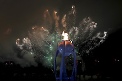 March 9, 2018 - Pyeongchang, GANGWON, SOUTH KOREA - March 09, 2018-Pyeongchang, South Korea-Fireworks explodes as Seo Soonseok and Kim EunJung light the Paralympic cauldron during the opening ceremony of the PyeongChang 2018 Paralympic Games at the PyeongChang Olympic Stadium in Pyeongchang, South Korea. (Credit Image: © Gmc via ZUMA Wire)