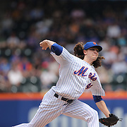 Pitcher Jacob deGrom, New York Mets, pitching during the New York Mets Vs Chicago Cubs MLB regular season baseball game at Citi Field, Queens, New York. USA. 2nd July 2015. Photo Tim Clayton